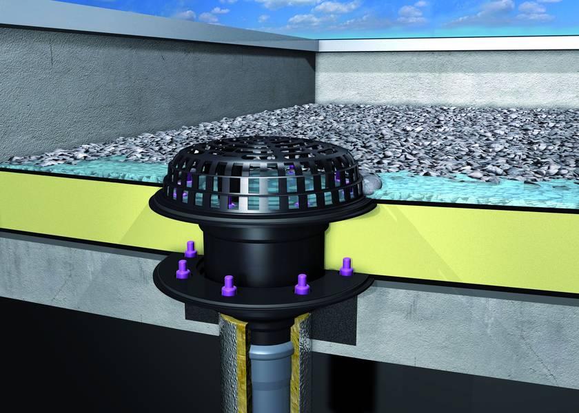 система от улуци и сифони за плосък покрив